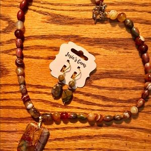 Picture jasper necklace with matching earrings